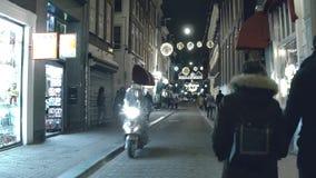 AMSTERDAM, NETHERLANDS - DECEMBER 25, 2017. Tourist street on Christmas eve. AMSTERDAM, NETHERLANDS - DECEMBER 25, 2017 Tourist street in city center stock footage