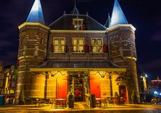 Amsterdam, Netherlands - December 14, 2017: Weigh house or Waag at Nieuwmarkt or New market square in Amsterdam Stock Photo