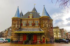 Amsterdam, Netherlands - December 14, 2017: Weigh house or Waag at Nieuwmarkt or New market square in Amsterdam Stock Images