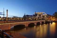 Amsterdam, Netherlands - Drawbridge in the evening Royalty Free Stock Image
