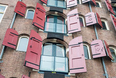 Amsterdam, Netherlands. Facade of a traditional house with beaut Royalty Free Stock Photo