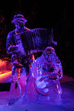 Amsterdam, Netherlands, February 4, 2017 - Amsterdam Ice Festival. Man and woman made of ice playing music instruments Stock Photos