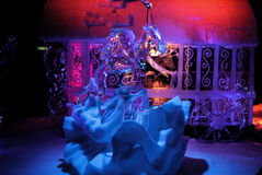 Amsterdam, Netherlands, February 4, 2017 - Amsterdam Ice Festival. Woman made of ice dancing dressed in nice dress Stock Image