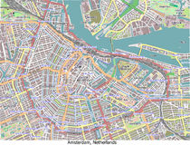 Amsterdam Netherlands hi res aerial view map Stock Photo