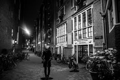 AMSTERDAM, NETHERLANDS - JANUARY 22 2016: City streets of Amsterdam at night. General views of city landscape on January 22, 2016. In Amsterdam - Netherland stock photo