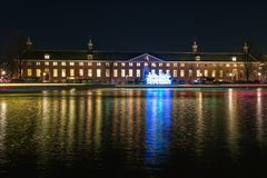 Creative light art in front of the Hermitage Museum during the F stock image