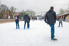 AMSTERDAM, NETHERLANDS - JANUARY 9, 2018: Ice skating on the ice Stock Images