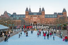 AMSTERDAM, NETHERLANDS - JANUARY 8, 2016: Ice skating on the ska Stock Photos