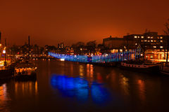 AMSTERDAM, THE NETHERLANDS - January 4, 2016: Light festival Stock Photography