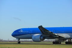 Amsterdam the Netherlands - January 7th 2018: PH-BVO KLM Royal Dutch Airlines Boeing 777-300. Takeoff from Polderbaan runway Royalty Free Stock Photos