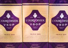 Free AMSTERDAM, NETHERLANDS - JULY 18, 2018: Bottles Of Courvoisier Triple Oak Cognac In Duty Free Shop. Stock Photography - 121798782