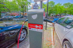 Amsterdam, Netherlands - July 10, 2015: Charging station for electric cars located in city centre Royalty Free Stock Photo