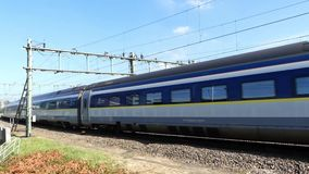 Eurostar high speed train arriving at Amsterdam stock footage