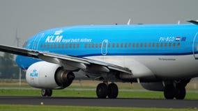 KLM Boeing 737 accelerate before departure. Amsterdam, The Netherlands - July 25, 2017: KLM Boeing 787 Dreamliner PH-BGD accelerate before departure at runway stock footage