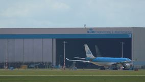 Boeing 767 of KLM Airlines taxiing stock video footage