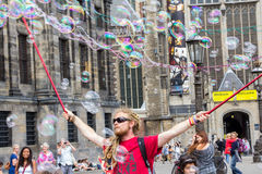 AMSTERDAM, NETHERLANDS, - jULY 17, 2015: Street artist Royalty Free Stock Photos