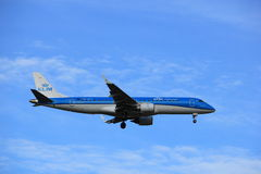 Amsterdam, the Netherlands, July, 15th 2016:PH-EZM KLM Cityhopper Embraer Royalty Free Stock Photography