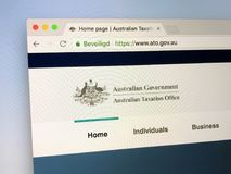 Hompage of The Australian Taxation Office - ATO. Amsterdam, the Netherlands - July 9, 2018: Website of The Australian Taxation Office or ATO, the Australian royalty free stock photos