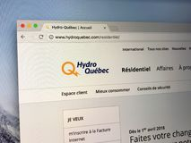 Homepage of Hydro-Québec royalty free stock image