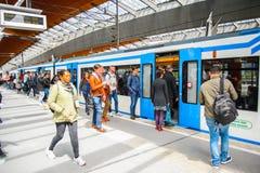 Bijlmer ArenA metro station. AMSTERDAM, NETHERLANDS - JUN 1, 2015: Unidentified people at the Amsterdam Bijlmer ArenA metro station. It's a railway station in royalty free stock photo