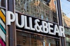 AMSTERDAM, NETHERLANDS- 11 June 2018 - Brand logo of Pull&Bear i royalty free stock photography