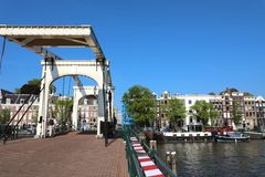 AMSTERDAM, NETHERLANDS - JUNE 6, 2018: bridge Magere Brug Skinn. Y bridge on Amstel river, Amsterdam, Netherlands stock photos