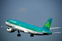 Amsterdam, the Netherlands - June 2nd, 2017: EI-EDP Aer Lingus. Airbus A320-214 taking off from Polderbaan Runway Amsterdam Airport Schiphol stock photo