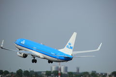 Amsterdam, the Netherlands  -  June 2nd, 2017: PH-BCE KLM Royal Dutch Airlines. Boeing 737 taking off from Polderbaan Runway Amsterdam Airport Schiphol Royalty Free Stock Photo