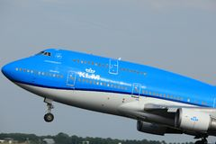 Amsterdam, the Netherlands  -  June 2nd, 2017: PH-BFW KLM  747-400M. Amsterdam, the Netherlands  -  June 2nd, 2017: PH-BFW KLM Royal Dutch Airlines Boeing 747 Royalty Free Stock Photo