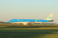 Amsterdam, the Netherlands  -  June 2nd, 2017: PH-EXE KLM Cityhopper Embraer Stock Photos