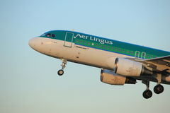 Amsterdam, the Netherlands - June 1st, 2017: EI-DEE Aer Lingus Airbus. A320-214 taking off from Polderbaan Runway Amsterdam Airport Schiphol royalty free stock photo