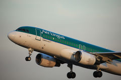 Amsterdam, the Netherlands - June 1st, 2017: EI-DEE Aer Lingus Airbus. A320-214 taking off from Polderbaan Runway Amsterdam Airport Schiphol stock images