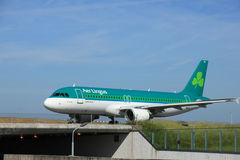 Amsterdam, the Netherlands - June 9th 2016: EI-CVC Aer Lingus Ai. Rbus A320 , taxiing to Polderbaan runway Schiphol, destination Dublin, Ireland royalty free stock images