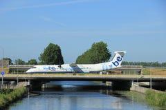 Amsterdam, the Netherlands - June 9th 2016: G-ECOB Flybe De Havi. Lland Canada DHC-8-402Q Dash 8 , taxiing to Polderbaan runway Schiphol, destination Birmingham Stock Photo