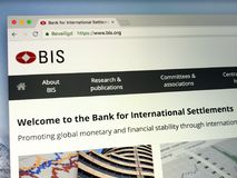 Homepage of The Bank for International Settlements or BIS royalty free stock images