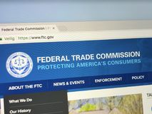 Homepage of The Federal Trade Commission, FTC. Amsterdam, Netherlands - June 1, 2018: Website of The Federal Trade Commission, FTC. This United States royalty free stock photography