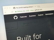 Homepage of GitHub Inc. Amsterdam, Netherlands - June 4, 2018: Website of GitHub Inc., a web-based hosting service. GitHub has been acquired by Microsoft stock photo