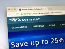 Homepage of Amtrak. Amsterdam, Netherlands - June 14, 2018: Website of The National Railroad Passenger Corporation, known as Amtrak. Amtrak is a passenger royalty free stock photo