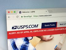 Homepage of The United States Postal Service, USPS royalty free stock image