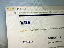 Homepage of VISA card - Visa Inc. Amsterdam, Netherlands - June 2, 2018: Website of VISA. Visa Inc., a US multinational financial and payment cards company Stock Photography