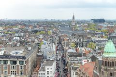 AMSTERDAM, THE NETHERLANDS - MARCH 2015: Aerial view of city buildings. The city hosts 15 million tourists annually.  stock photos