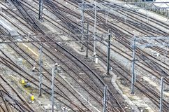 Railway tracks Amsterdam central station stock photography