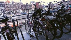 Amsterdam bike parking stock video