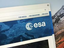 Official homepage of European Space Agency ESA. Amsterdam, The Netherlands - March 27, 2018: Official homepage of European Space Agency ESA Royalty Free Stock Image