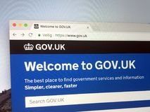 Official homepage of The Government of the United Kingdom. Amsterdam, The Netherlands - March 27, 2018: Official homepage of The Government of the United Kingdom Stock Photography