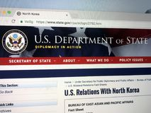 Official homepage of The United States Department of State or State Department. royalty free stock photo