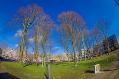 AMSTERDAM, NETHERLANDS, MARCH, 10 2018: Outdoor view of many trees in a park in a park in dowtown close to the canals of. Amsterdam, is the capital city of the Royalty Free Stock Image