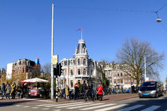 AMSTERDAM, THE NETHERLANDS - MARCH 13, 2016: Typical crossroad scenery view Holland Casino Royalty Free Stock Photo