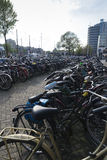 Amsterdam. NETHERLANDS - MAY, 12, 2017: Bicycle parking next to the central railway station Royalty Free Stock Photo