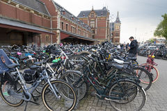 Amsterdam. NETHERLANDS - MAY, 12, 2017: Bicycle parking next to the central railway station Stock Image